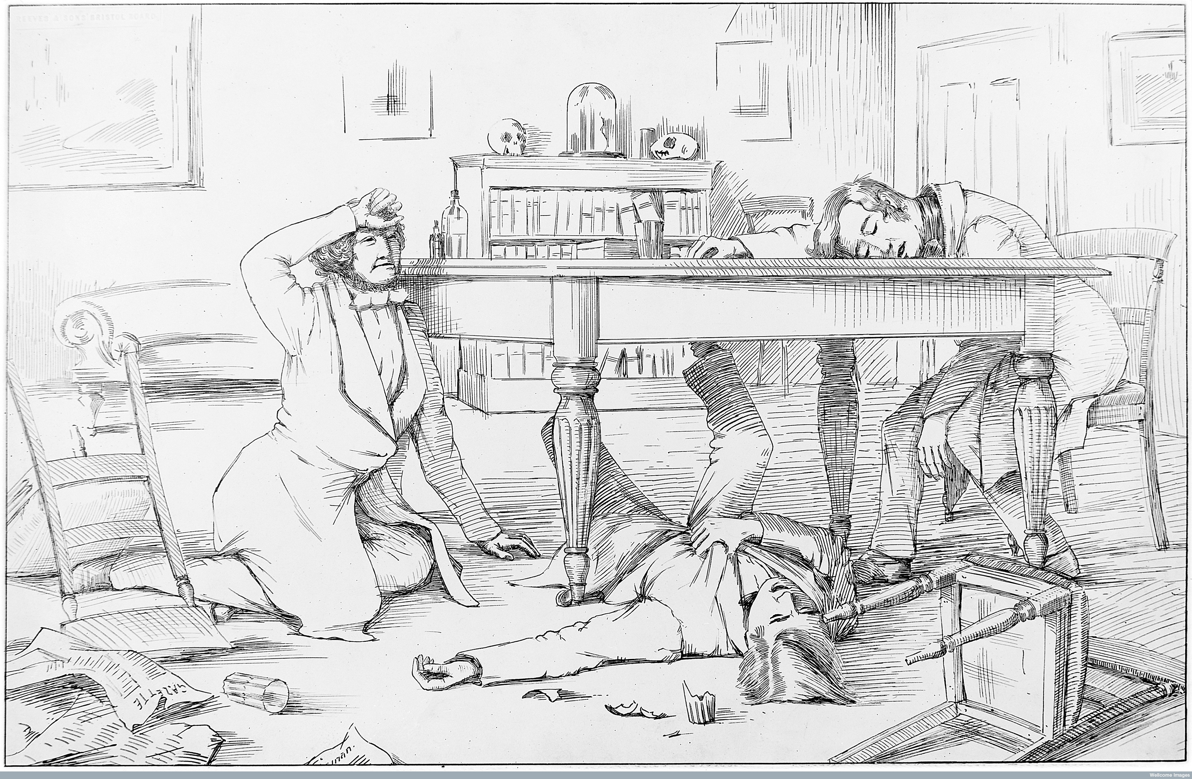 The dinner party where the effects of chloroform were discovered by Simpson and his assistants, 4 November 1847.